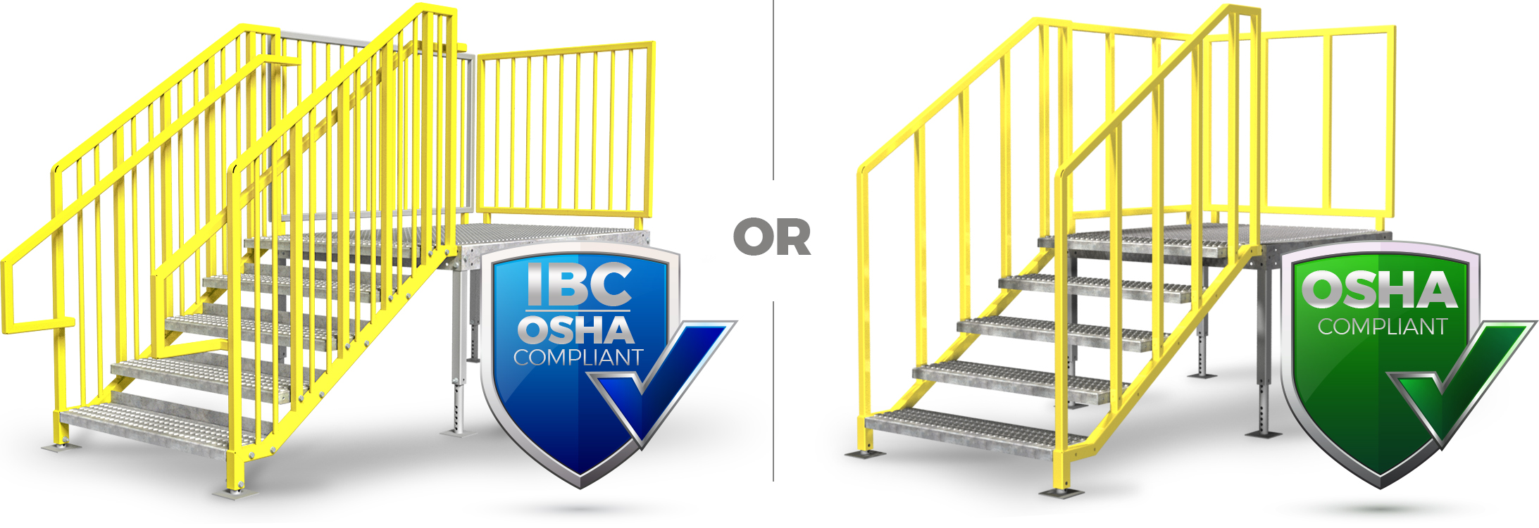 IBC and OSHA Compliant portable stairs